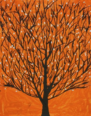 Ubhrav by Sumit Mehndiratta, Decorative Painting, Acrylic on Canvas, Orange color