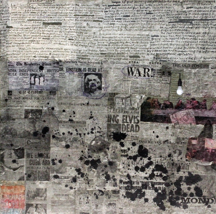 War Old Post by Prasanta Ghosh, Pop Art Painting, Mixed Media on Canvas, Gray color