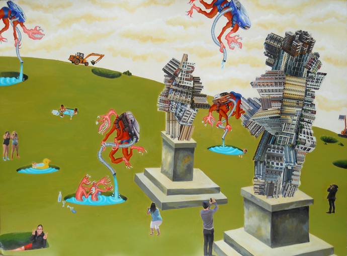 A Usual Event by Arpan Ghosh, Surrealism Painting, Mixed Media on Paper, Green color