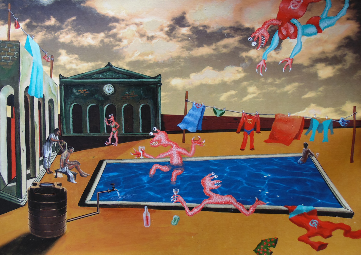 In the Land of De Chirico II by Arpan Ghosh, Surrealism Painting, Mixed Media on Paper, Brown color