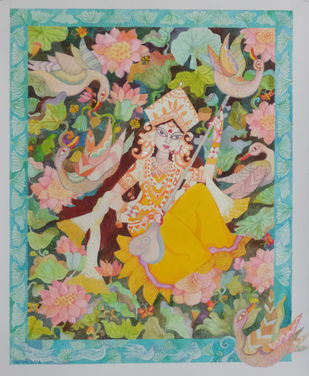 Saraswati Goddess of Knowledge by Chaitali Chatterjee, Decorative Painting, Mixed Media on Paper, Beige color