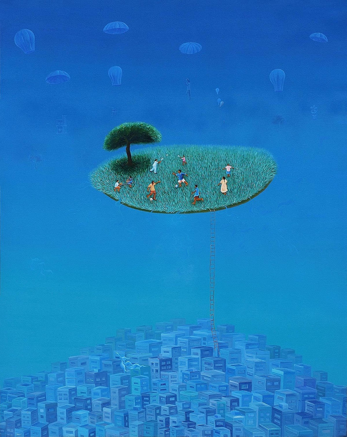 City Life by Debashish Dutta, Surrealism Painting, Acrylic on Canvas, Blue color