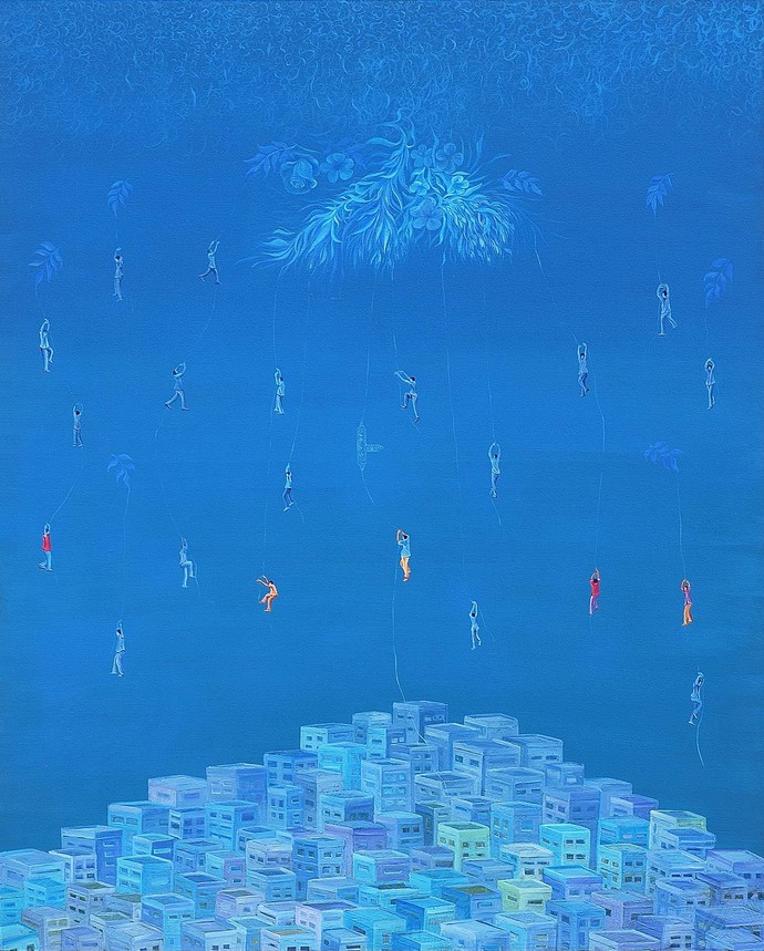Journey by Debashish Dutta, Surrealism Painting, Acrylic on Canvas, Blue color