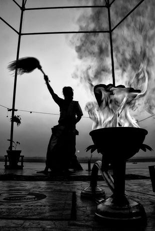 Ganga Aarti by Subhajit Dutta, Conceptual Photography, Digital Print on Paper, Gray color