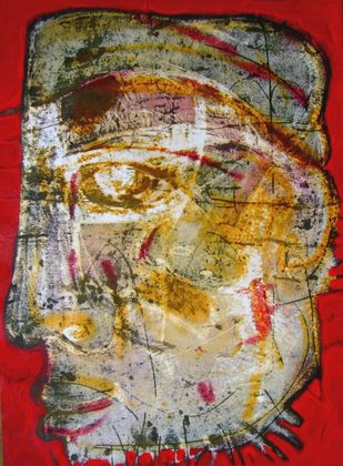 Head Series by Syed Rayees Ahmed, Naive Painting, Acrylic on Paper, Brown color