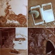 Rural to Urbanization by Jyotirmay Dalapati, Surrealism Printmaking, Etching on Paper, Brown color
