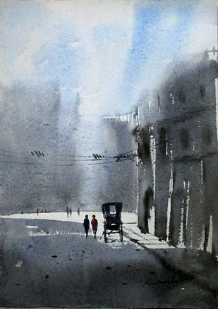 Peace by Asim Paul, Impressionism Painting, Watercolor on Paper, Gray color