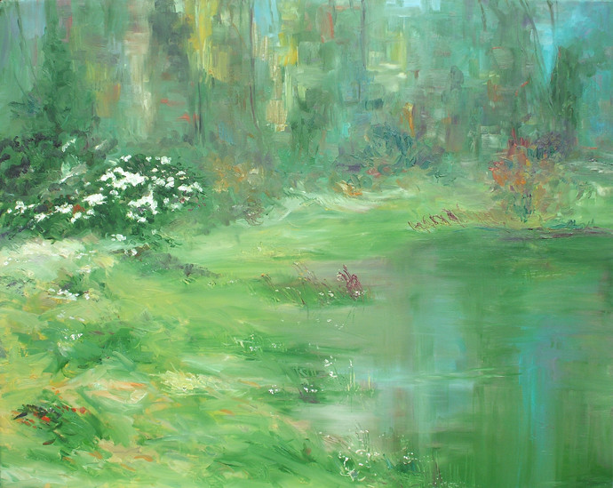 Water and Land II by Animesh Roy, Impressionism Painting, Oil on Linen, Green color