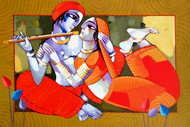 Romantic Couple 11 by Sekhar Roy, Decorative Painting, Acrylic on Canvas, Brown color