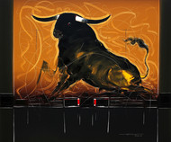 Bull - 112 by Sujith Kumar GS Mandya, Impressionism Painting, Oil on Canvas, Brown color