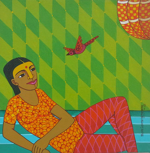 Untitiled by Thota Laxminarayana, Traditional Painting, Acrylic on Canvas, Green color