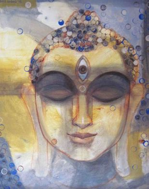 Buddha 3 by Ashis Kabasi, Decorative Painting, Acrylic on Canvas, Brown color