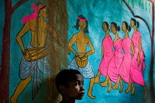 Decorated mud- wall in a tribal village, W.B., India by Asis Kumar Sanyal, Photography, Digital Print on Paper, Green color