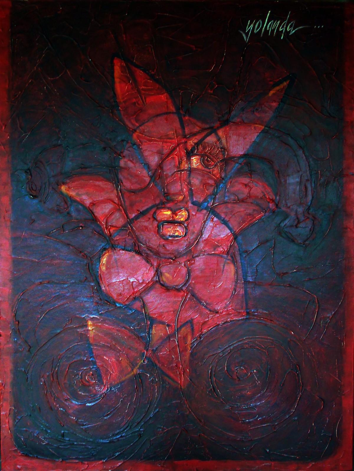 Hidden Truth - I by Yolanda Sousa Kammermeier, Expressionism Painting, Acrylic on Canvas, Blue color