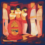 Dev Dasi by Dipak Asole, Decorative Painting, Oil on Canvas, Brown color
