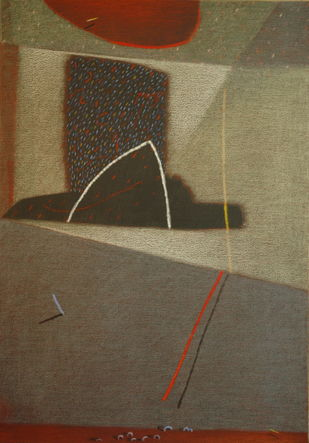Shadow Becomes Reality 23 by Anil Gaikwad, Abstract Painting, Oil Pastel on Canvas, Brown color