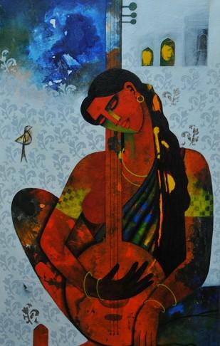 Musician by Appam Raghav, , , Brown color