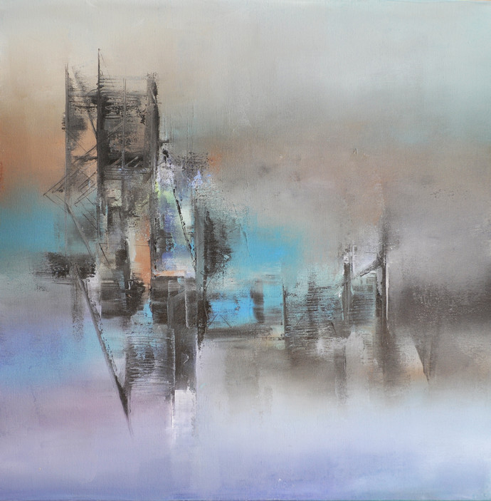 Blue Mist by Raju Durshettiwar, Abstract Painting, Acrylic on Canvas, Gray color