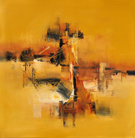 Ochre Melancholy by Raju Durshettiwar, Abstract Painting, Acrylic & Ink on Canvas, Orange color