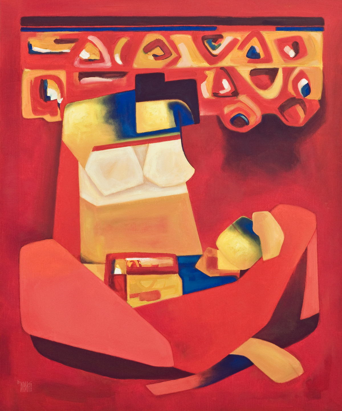 Affection by Dipak Asole, Decorative Painting, Oil on Canvas, Red color