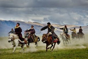 The Riders by Sugato Mukherjee, Realism Photography, Digital Print on Canvas, Brown color
