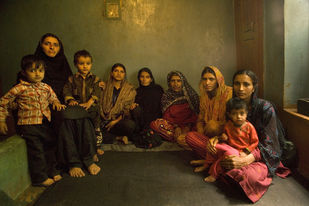 A Family in Kashmir by Sugato Mukherjee, Image Photography, Digital Print on Canvas, Brown color
