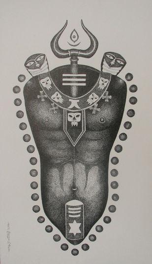 Lord Shiva by Bhaskar Lahiri, Decorative Drawing, Pen & Ink on Paper, Gray color