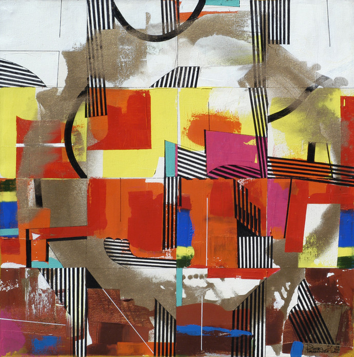 Metropolitan Spectrum 01 by Prabhinder Lall, Geometrical Painting, Acrylic on Canvas, Brown color