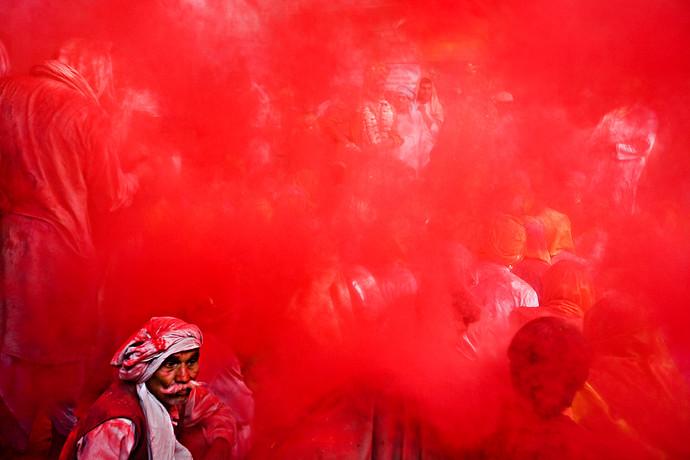 Holi in Barsana, UP. by Asis Kumar Sanyal, Photography, Digital Print on Paper, Red color