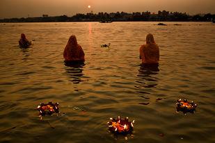 Worshipping Sun God by Asis Kumar Sanyal, Photography, Digital Print on Paper, Brown color