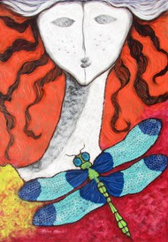 A Girl and a Dragonfly by Shivayogi Mogali, Expressionism Painting, Acrylic on Paper, Red color
