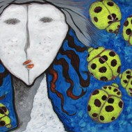 A girl and ladybugs  2 acrylic on paper 19.5h x 13.5w in shiva mogali