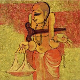Bhikshandehi by Sarang Waghmare, Decorative Painting, Acrylic on Canvas, Brown color