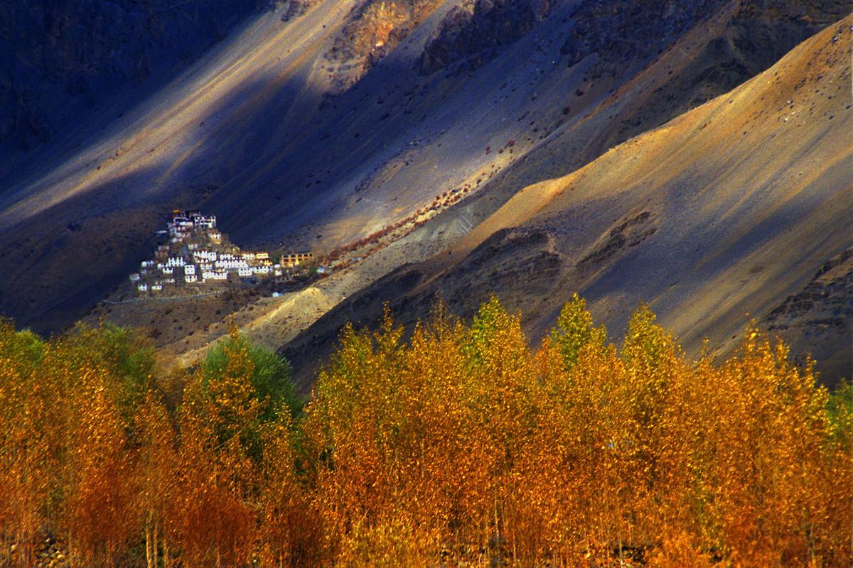 Faraway Monastery by Sugato Mukherjee, Image Photography, Digital Print on Canvas, Brown color