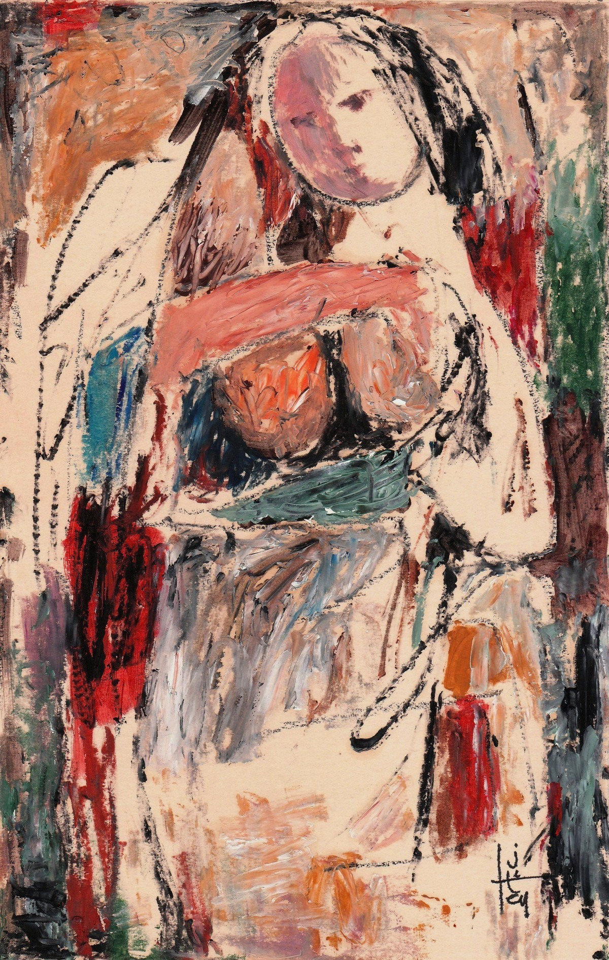 She by Jiten Hazarika, Expressionism Painting, Mixed Media on Paper, Brown color