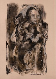 Family by Jiten Hazarika, Expressionism Drawing, Mixed Media on Paper, Brown color