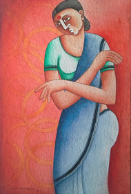 Untitled by Thota Laxminarayana, Traditional Painting, Acrylic on Paper, Pink color