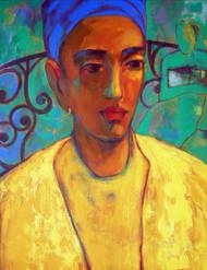 Waiting by Avinash Mokashe, Painting, Acrylic on Canvas, Orange color