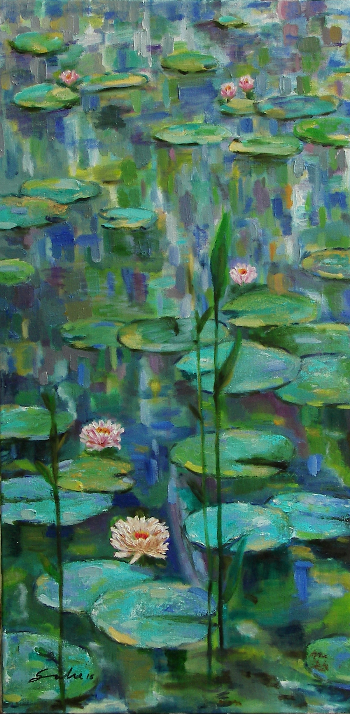 Water Lilies-4 by Sulakshana Dharmadhikari, Impressionism Painting, Oil on Canvas, Green color