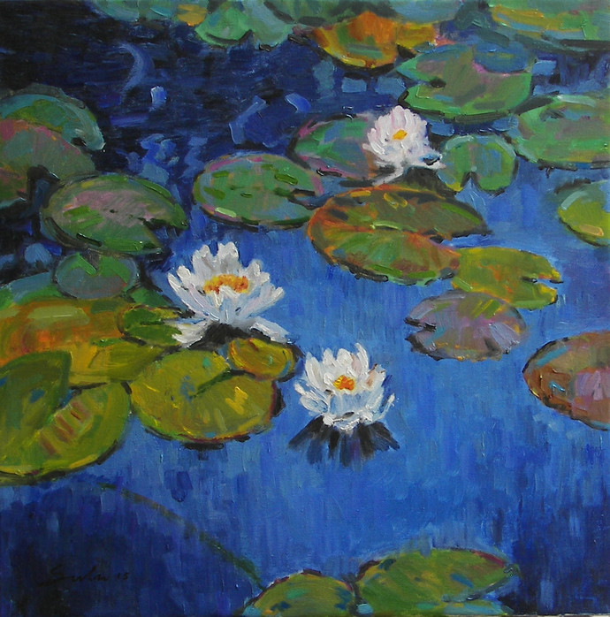 Water Lilies -5 by Sulakshana Dharmadhikari, Impressionism Painting, Oil on Canvas, Green color