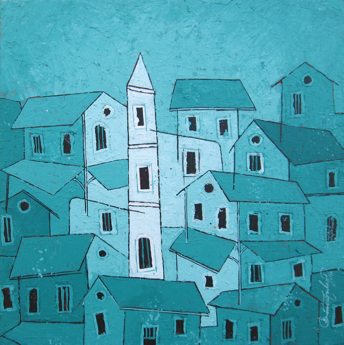 Green Village - 742 by Suresh Gulage, Decorative Painting, Acrylic on Canvas, Cyan color