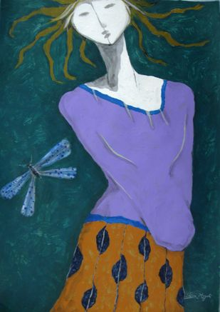A Girl and Damselfly by Shivayogi Mogali, Expressionism Painting, Acrylic on Paper, Green color