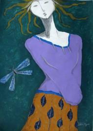 A Girl and Damselfly Digital Print by Shivayogi Mogali,Expressionism