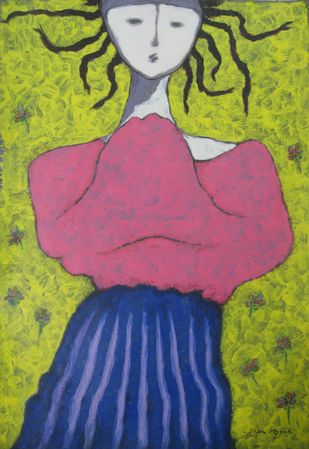 Girl in Graden by Shivayogi Mogali, Expressionism Painting, Acrylic on Paper, Green color