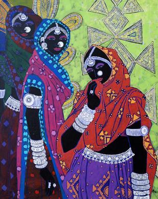 Festive Rhythm 40 by Anuradha Thakur, , , Blue color