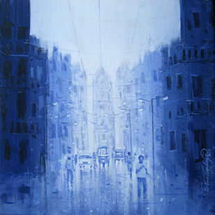 City - 745 by Suresh Gulage, Impressionism Painting, Acrylic on Canvas, Blue color
