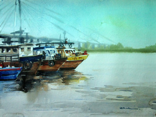 Kolkata 1 by A Kundu, Impressionism Painting, Watercolor on Paper, Cyan color