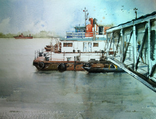 Kolkata 2 by A Kundu, Impressionism Painting, Watercolor on Paper, Green color