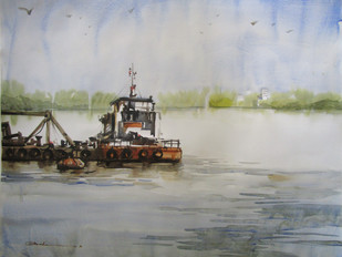 Reflection - Kolkata by A Kundu, Impressionism Painting, Watercolor on Paper, Gray color
