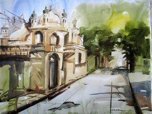 Kolkata 3 by A Kundu, Impressionism Painting, Watercolor on Paper, Beige color